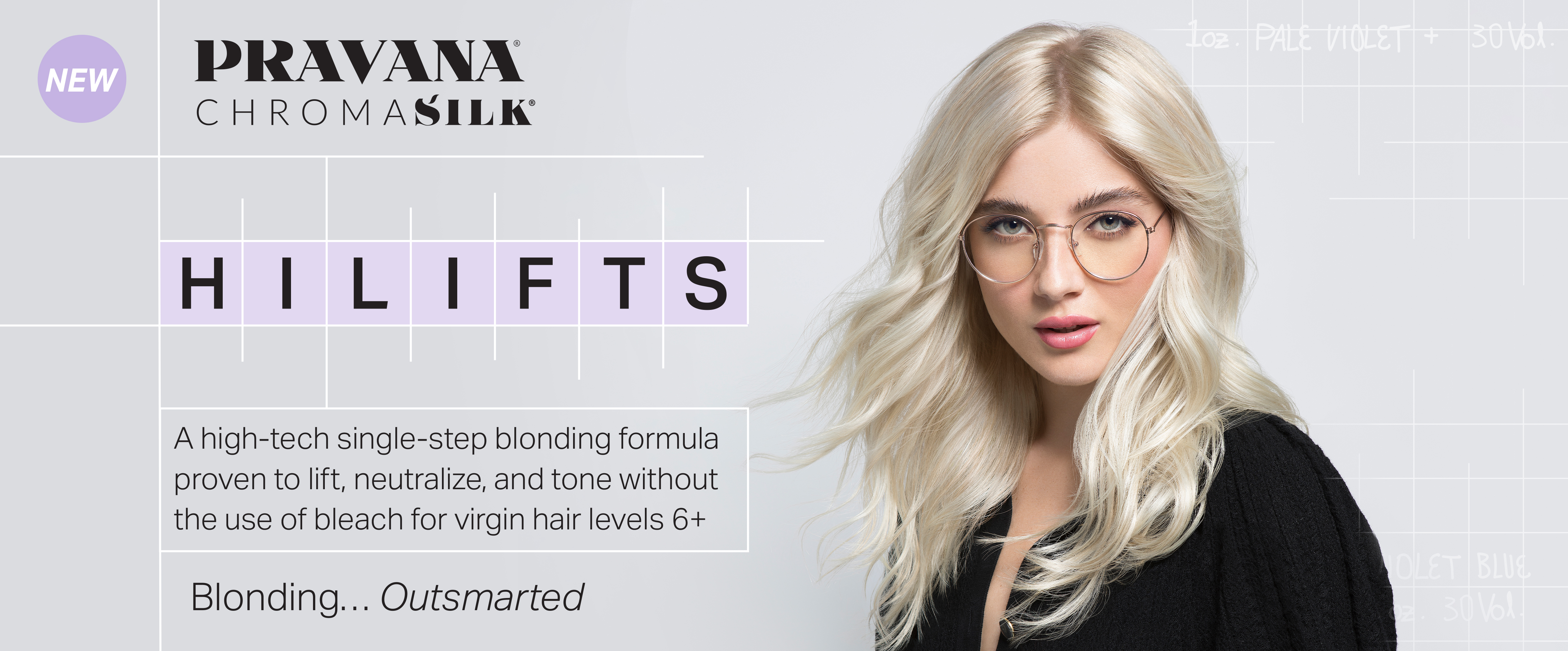 hair model with platinum blonde hair from pravana hi lifts. ChromaSilk Hi Lifts: a high-tech single-step blonding formula proven to lift, neutralize, and tone without the use of bleach for virgin hair levels 6 plus. Blonding, outsmarted.