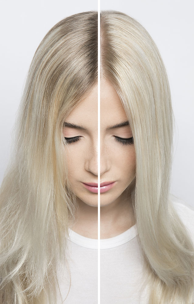 hair model with blonde hair showing off her before and after roots